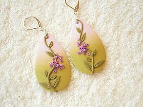 Náušnice - Náušnice z polyméru, fialová rastlinka - 9950023_