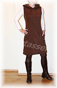 Šaty - Šatovka s kapucí fleece(více barev) (Šedá) - 9954652_