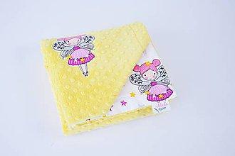 Textil - Minky žltá deka s vílami - 9953757_