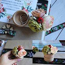 Iné doplnky - krabička na obrúčky (zelená) - 9953839_