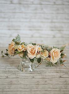 Ozdoby do vlasov - Svadobný kvetinový venček - 9955300_
