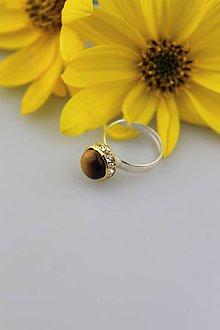 Prstene - tigrie oko prsteň striebro - nastaviteľný - 9954684_