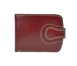 Peňaženky - Kožená dámska elegantná peňaženka, bordová farba - 9953796_