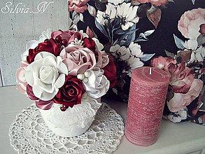 Dekorácie - Kvetináč plný ruží zo stúh. - 9953670_
