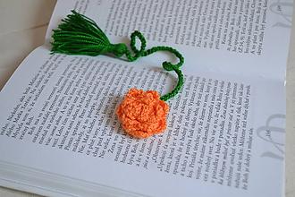 Drobnosti - Háčkovaná záložka - oranžová II. - 9954953_