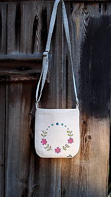 Kabelky - Ľanová kabelka ručne maľovaná - 9953975_