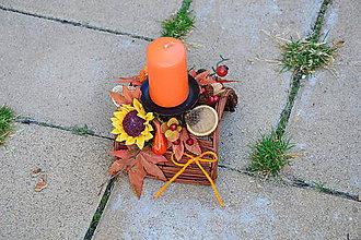 Dekorácie - Jesenný poloblúkový svietnik so slnečnicou a sviečkou - 9954360_