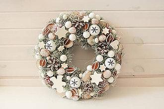 Dekorácie - Venček veľký Biele Vianoce/ White Christmas - 9953690_
