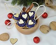 Dekorácie - Vianočné orechy modrotlač so srdcom - 9954855_