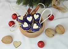Dekorácie - Vianočné orechy modrotlač so srdcom - 9954857_
