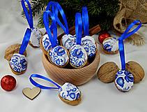 - Folk vianočné oriešky modré - 9954876_