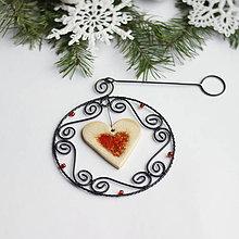 Dekorácie - vianočná dekorácia so srdiečkom II - 9956272_