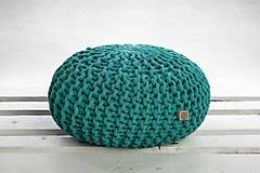 Úžitkový textil - Puf z hrubých šnúr (Wild mint) - 9957770_