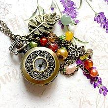 Náhrdelníky - Autumn Watches Bronze Necklace / Hodinky na retiazke v jesennom štýle s polodrahokamami, korálkami a príveskami /1004 - 9957941_