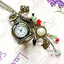 Náhrdelníky - Christmas Watches Bronze Necklace / Hodinky na retiazke vo vianočnom štýle polodrahokami, korálky a prívesky /1005 - 9957988_