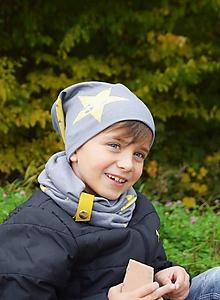 Detské čiapky - Čiapka a nákrčník s koženou sponou - 9957694_