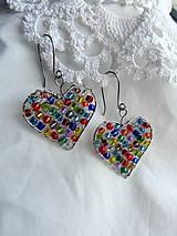Náušnice - náušnice + prívesok...láska je farebná...chirurgická oceľ - 9957769_