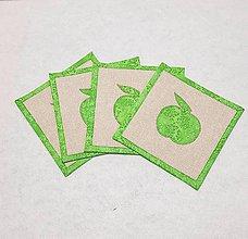 Úžitkový textil - Podšálky  s jabĺčkom, cena za 2 ks - 9957745_