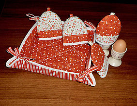 Úžitkový textil - súprava na raňajky s košíčkom - 9957631_
