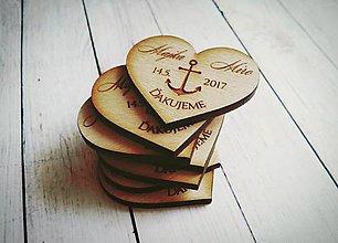 Darčeky pre svadobčanov - Drevené magnetky - 9958333_