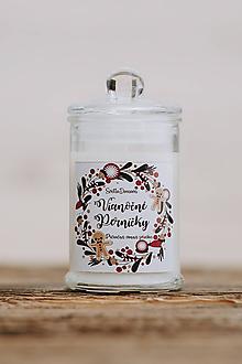 Svietidlá a sviečky - Sviečka zo sójového vosku v skle - Vianočné Perníčky - 9956146_