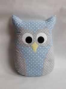 Úžitkový textil - Vankúš sova veľká (Modrá) - 9957723_