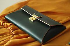 Kabelky - Kožená listová kabelka EMERALD GOLD - 9958541_