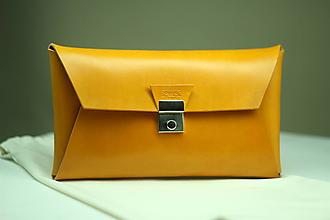 Kabelky - Kožená listová kabelka YELLOW SILVER - 9958030_