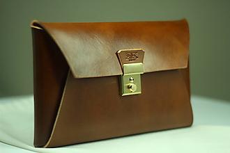 Kabelky - Kožená listová kabelka WALNUT GOLD - 9958367_
