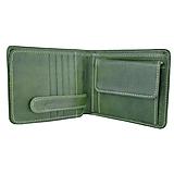 - Peňaženka z prírodnej kože v zelenej farbe, ručne tamponovaná - 9955732_