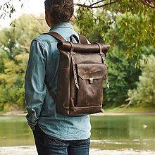 Batohy - Kožený mestský  batoh. Čokoladový ruksak. - 9956543_