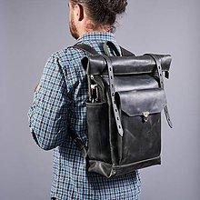 Batohy - Tmavošedý mestský batoh z  talianskej triesločinenej kože - 9956628_