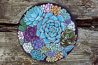Obrazy - Sukulenty - akrylová maľba na drevenej doske, originál - 9958547_