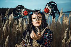 Ozdoby do vlasov - Šamanská čelenka Halloweenska kolekcia - 9955871_