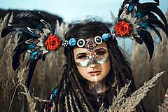 Ozdoby do vlasov - Šamanská čelenka Halloweenska kolekcia - 9955872_