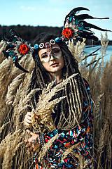 Ozdoby do vlasov - Šamanská čelenka Halloweenska kolekcia - 9955874_