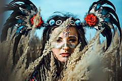 Ozdoby do vlasov - Šamanská čelenka Halloweenska kolekcia - 9955875_