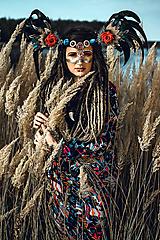 Ozdoby do vlasov - Šamanská čelenka Halloweenska kolekcia - 9955876_