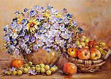 Obrazy - Jesenné kvety s ovocím - 9957789_