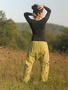 Nohavice - Lněné turky zelené - 9958749_