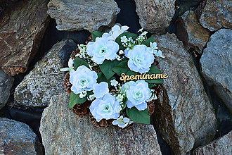 Dekorácie - Smútočný šiškový venček v bielom Spomíname - 9957118_