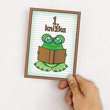Papiernictvo - Žabie míľnikové kartičky (žabiak a knižka) - 9955457_