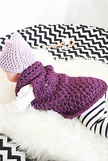 Detské oblečenie - Mini... boho vesta... vo fialovej ... 6-12 m - 9959154_