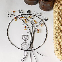 Dekorácie - jesenný strom s mačičkou  (s mačičkou) - 9962200_