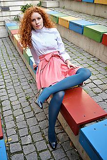Sukne - Zavinovací sukně ANJA, tmavší lososová - 9959722_