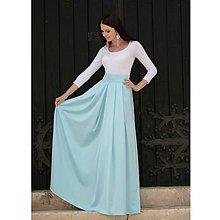 Sukne - Saténová sukňa svetlo modrá - 9958809_