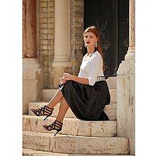 Sukne - Saténová spoločenská sukňa midi čierna - 9958814_