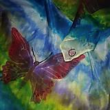 Šatky - Hodvábna šatka Dúhové motýle - 9959791_