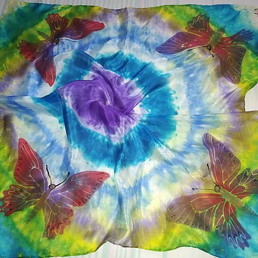 Hodvábna šatka Dúhové motýle