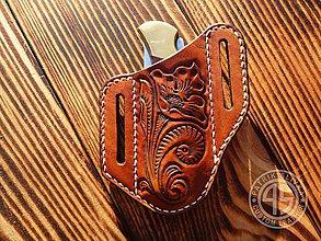Nože - Kožené púzdro na skladací nôž - 9959418_